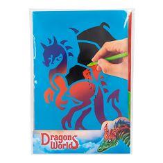 Dino World Scratch pictures , Z podstawą tęczową, w tym skrobaczką