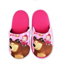 SETINO Dívčí pantofle na doma Máša a medvěd - tmavě růžová