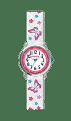 CLOCKODILE Motýlí bílé dívčí hodinky CLOCKODILE BUTTERFLIES se třpytkami