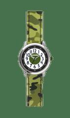 CLOCKODILE Svítící zelené chlapecké hodinky CLOCKODILE ARMY s maskáčovým vzorem