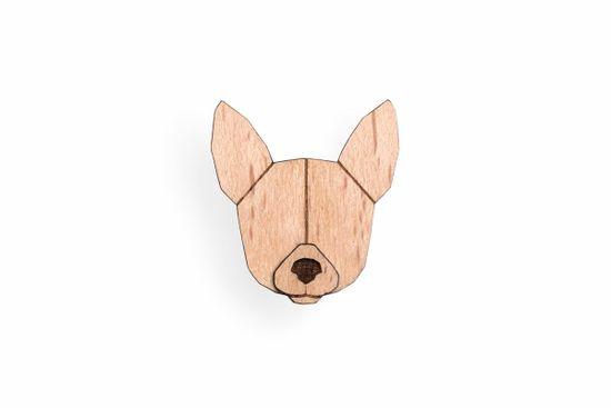 BeWooden Dřevěná brož ve tvaru psa Chihuahua Brooch