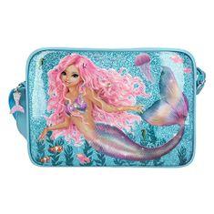 Fantasy Model ramenska torba, Morska deklica, turkizna s pajkicami