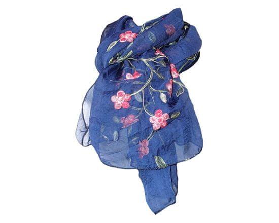 ORSI Dámská šála 70x160 květina tmavě modrá