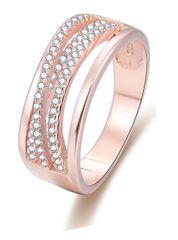 Beneto Ružovo pozlátený strieborný prsteň so zirkónmi AGG340 striebro 925/1000