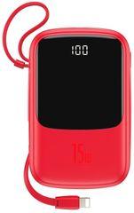 BASEUS Q-Pow powerbank gyorstöltéssel 10 000 mAh, 3A, Lightning kábel, piros PPQD-B09