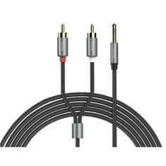 Hoco audio kabel 3,5mm Jack a 2x CINCH samec 1,5m Double Lotus černá-metalická šedá