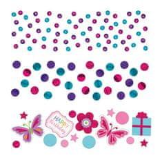 Amscan Konfety na párty růžové s motýlky 34g