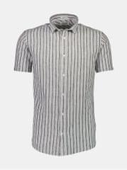 Lindbergh šedá pruhovaná lněná košile