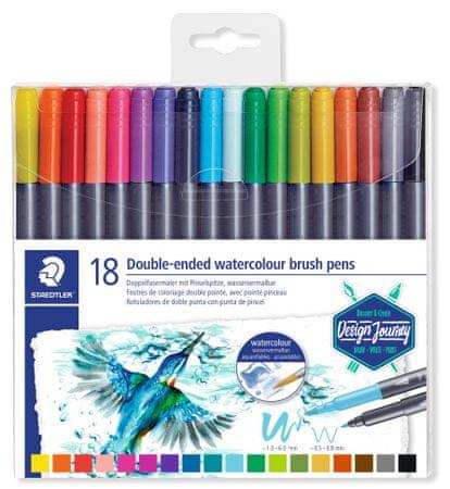 Staedtler Marsgraphic Duo akvarell toll, 18 színű, kétoldalas szett