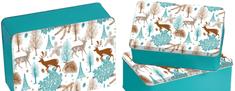 Kesper Fémdoboz készlet, szögletes, 3 db, téli erdő minta