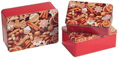 Kesper Fémdoboz készlet, szögletes, 3 db, karácsonyi minta