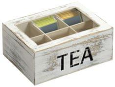 Kesper pudełko na herbatę z 6 przegródkami, białe drewno