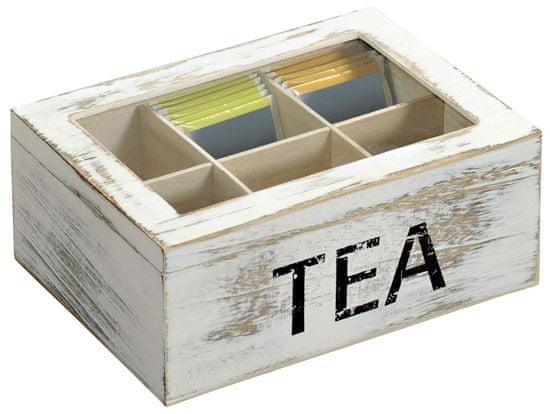 Kesper Čajový box so 6 priehradkami, drevený biely