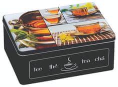 Kesper pudełko na herbatę z 6 przegródkami, czarny metalowy