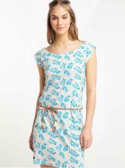 Ragwear modro-šedé vzorované šaty Tag Leaves