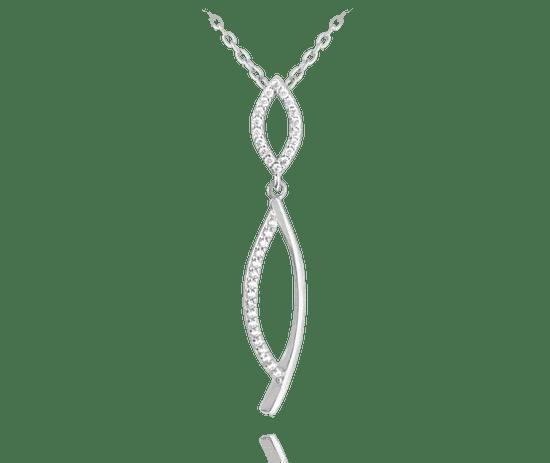 MINET Luxusní stříbrný náhrdelník MINET s bílými zirkony