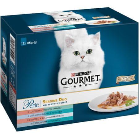 Gourmet Perle Multipack mini fileji v ribjem soku, Duo, 6x (12x 85 g)