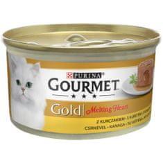 Gourmet Gold Melting Heart jemná paštika s omáčkou uvnitř s kuřetem 24x85 g