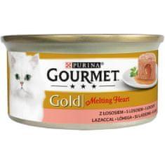 Gourmet Gold Melting Heart jemná paštika s omáčkou uvnitř s lososem 24x85 g