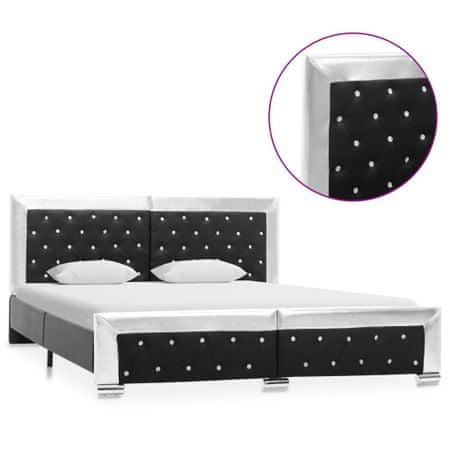 shumee fekete műbőr ágykeret 160 x 200 cm