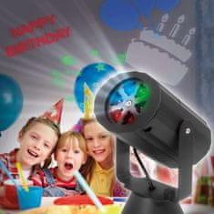 PHENOM Baterijski LED projektor z zamenljivimi motivi za rojstni dan, božič, noč čarovnic IP20
