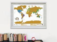 Velká stírací mapa světa- bílá