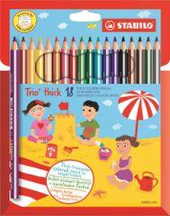 Stabilo Színes ceruzák Trio thick szett, 18 szín, háromszög alakú, jumbo