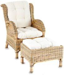 Linder Exclusiv LEX Fotel z podnóżkiem CONSUL RATTAN RS01