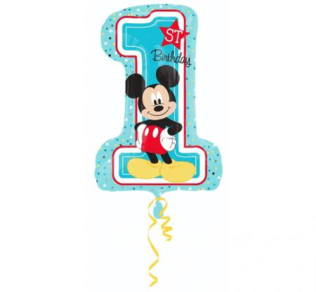 """GoDan Folijski balon številka 1 - """"Mickey Mouse"""" - modra - 92 cm"""