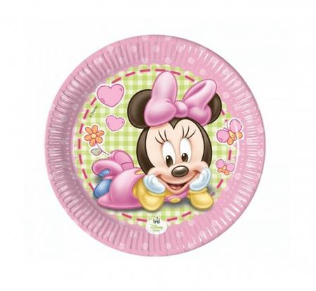 """GoDan Plošče za enkratno uporabo EKO """"Minnie Mouse - Baby"""" 20 cm - 8 kos"""
