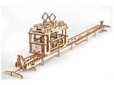 UGEARS Tramvaj s koľajnicami 3D mechanické puzzle 154 dielov