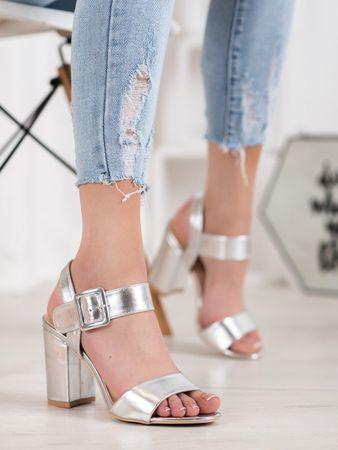 Sandały damskie 65109, odcienie szarości i srebra, 36