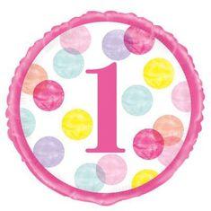 Fóliový balónek 1.narozeniny - Holka - 45 cm