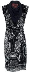 Desigual Čierne vzorované šaty so strapcami Desigual Čierna S