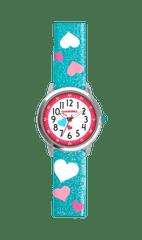 CLOCKODILE Tyrkysové třpytivé dívčí hodinky se srdíčky CLOCKODILE HEARTS