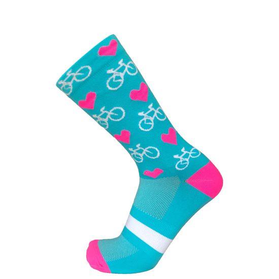 Duck Bike Cyklistické ponožky Hearts & Bikes, tyrkysová