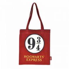 CurePink Shopping taška na rameno Harry Potter: Platform 9 3/4 (37 x 68 cm) červená bavlna