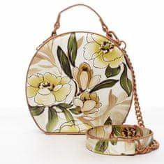 DIANA & CO Romantická květovaná dámská koženková kabelka Rozálie, peach