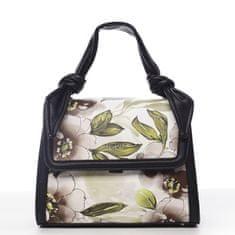 DIANA & CO Romantická květovaná koženková dámská kabelka Diana, černá