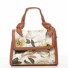 DIANA & CO Romantická květovaná koženková dámská kabelka Diana, peach