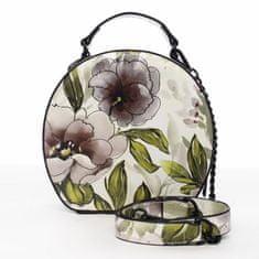 DIANA & CO Romantická květovaná dámská koženková kabelka Rozálie, černá