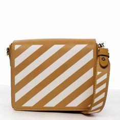 DIANA & CO Designová dámská crossbody koženková kabelka Lucky stripes, žlutá