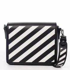 DIANA & CO Designová dámská crossbody koženková kabelka Lucky stripes, černá