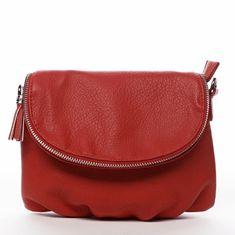 DIANA & CO Menší moderní koženková kabelka Mia Si, červená