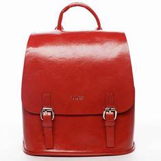 DIANA & CO Městský dámský koženkový batoh Spring light, červený