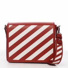 DIANA & CO Designová dámská crossbody koženková kabelka Lucky stripes, červená