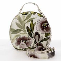 DIANA & CO Romantická květovaná dámská koženková kabelka Rozálie, béžová