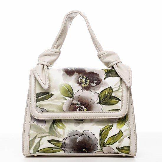 DIANA & CO Romantická květovaná koženková dámská kabelka Diana, béžová