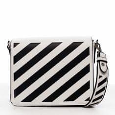 DIANA & CO Designová dámská crossbody koženková kabelka Lucky stripes, bílá