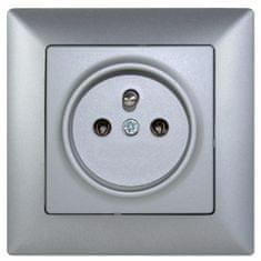 E2 elektro Visage2 zásuvka ČSN stříbrná